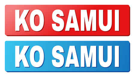KO SAMUI text on rounded rectangle buttons. Designed with white caption with shadow and blue and red button colors. Illustration