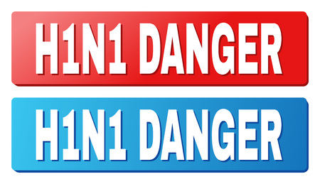 H1N1 DANGER text on rounded rectangle buttons. Designed with white title with shadow and blue and red button colors. Illusztráció