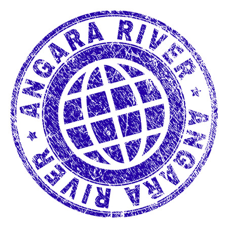 ANGARA RIVER stamp print with grunge texture. Blue vector rubber seal print of ANGARA RIVER caption with dust texture. Seal has words arranged by circle and globe symbol. Illustration