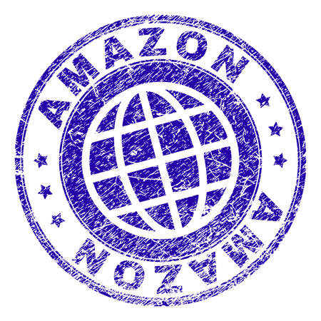AMAZON stamp imprint with distress effect. Blue vector rubber seal imprint of AMAZON label with dirty texture. Seal has words placed by circle and planet symbol.