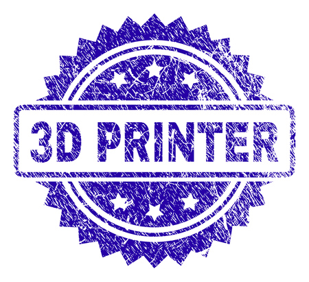 3D PRINTER stamp watermark with corroded style. Blue vector rubber seal print of 3D PRINTER caption with corroded texture.