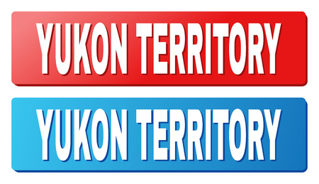 YUKON TERRITORY text on rounded rectangle buttons. Designed with white title with shadow and blue and red button colors.