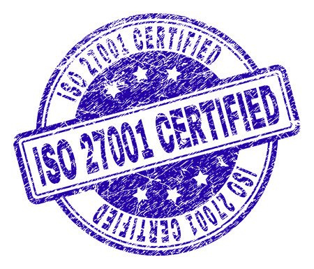 ISO 27001 CERTIFIED stamp seal watermark with grunge texture. Designed with rounded rectangles and circles. Blue vector rubber print of ISO 27001 CERTIFIED caption with dust texture. Illustration