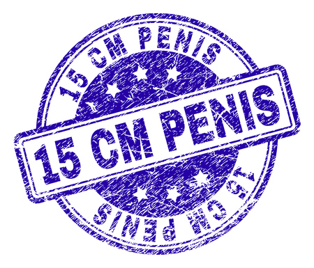 15 CM PENIS stamp seal imprint with distress texture. Designed with rounded rectangles and circles. Blue vector rubber print of 15 CM PENIS label with grunge texture. Ilustração