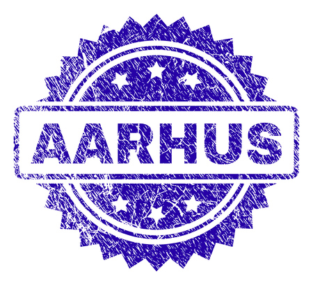 AARHUS stamp imprint with corroded style. Blue vector rubber seal print of AARHUS text with corroded texture.