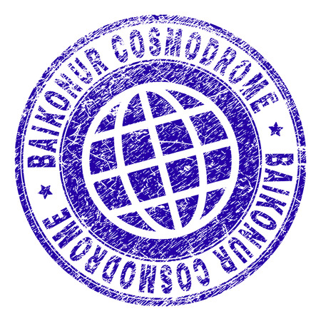 BAIKONUR COSMODROME stamp imprint with grunge texture. Blue vector rubber seal imprint of BAIKONUR COSMODROME label with dirty texture. Seal has words placed by circle and globe symbol.