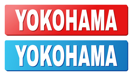 YOKOHAMA text on rounded rectangle buttons. Designed with white caption with shadow and blue and red button colors.