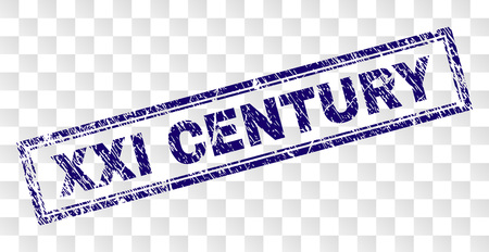 XXI CENTURY stamp seal print with rubber print style and double framed rectangle shape. Stamp is placed on a transparent background. Blue vector rubber print of XXI CENTURY text with unclean texture. Vektoros illusztráció