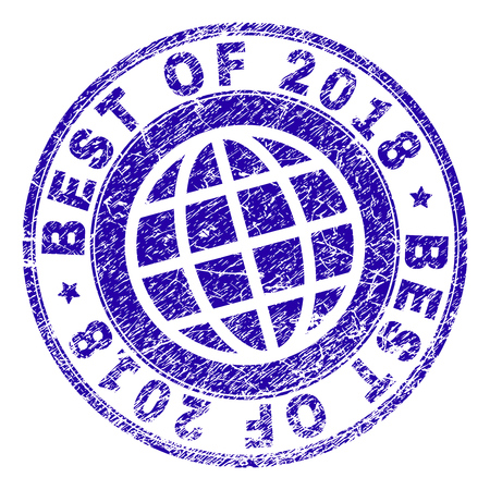 BEST OF 2018 stamp imprint with grunge texture. Blue vector rubber seal imprint of BEST OF 2018 text with grunge texture. Seal has words arranged by circle and planet symbol.