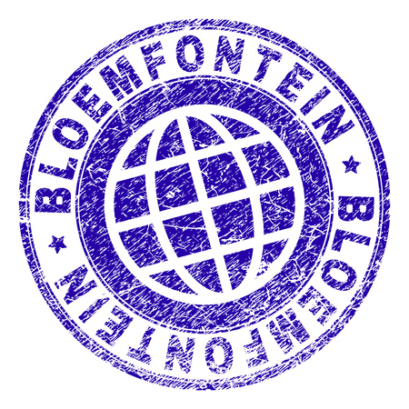 BLOEMFONTEIN stamp imprint with distress texture. Blue vector rubber seal imprint of BLOEMFONTEIN tag with corroded texture. Seal has words placed by circle and planet symbol.