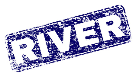 RIVER stamp seal print with grunge texture. Seal shape is a rounded rectangle with frame. Blue vector rubber print of RIVER tag with grunge style.