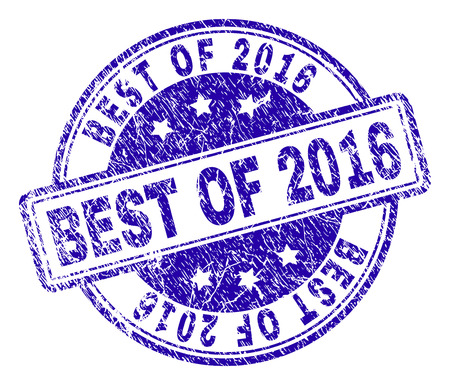 BEST OF 2016 stamp seal watermark with distress texture. Designed with rounded rectangles and circles. Blue vector rubber print of BEST OF 2016 label with dust texture. Illustration
