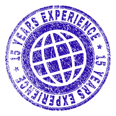 15 YEARS EXPERIENCE stamp imprint with grunge texture. Blue vector rubber seal imprint of 15 YEARS EXPERIENCE label with corroded texture. Seal has words placed by circle and globe symbol.