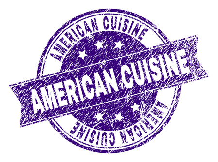AMERICAN CUISINE stamp seal imprint with grunge texture. Designed with ribbon and circles. Violet vector rubber print of AMERICAN CUISINE text with grunge texture. Ilustrace