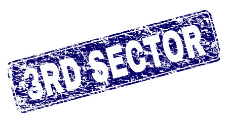 3RD SECTOR stamp seal print with grunge style. Seal shape is a rounded rectangle with frame. Blue vector rubber print of 3RD SECTOR tag with dirty style.