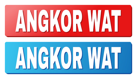 ANGKOR WAT text on rounded rectangle buttons. Designed with white caption with shadow and blue and red button colors.