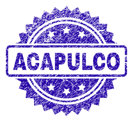 ACAPULCO stamp watermark with grunge style. Blue vector rubber seal print of ACAPULCO tag with grunge texture. Illustration