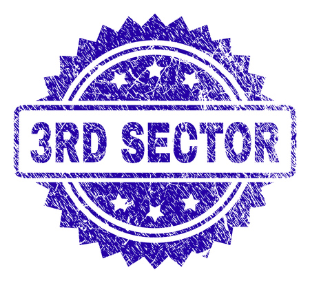3RD SECTOR stamp imprint with corroded style. Blue vector rubber seal print of 3RD SECTOR title with dust texture.