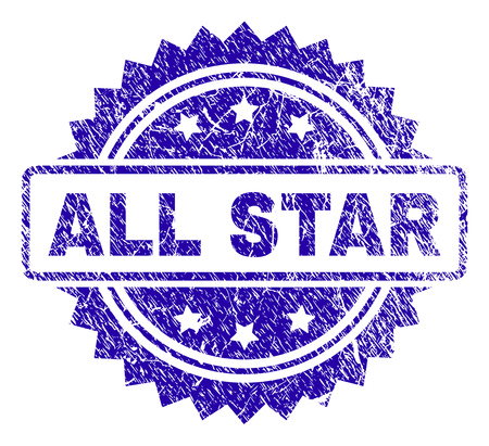 ALL STAR stamp imprint with corroded style. Blue vector rubber seal print of ALL STAR title with corroded texture.