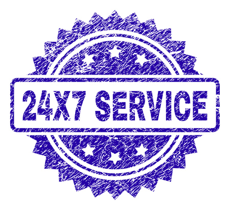 24X7 SERVICE stamp watermark with grainy style. Blue vector rubber seal print of 24X7 SERVICE tag with scratched texture. Illustration