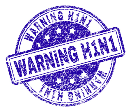 WARNING H1N1 stamp seal watermark with distress texture. Designed with rounded rectangles and circles. Blue vector rubber print of WARNING H1N1 caption with dirty texture.