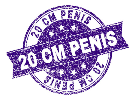 20 CM PENIS stamp seal watermark with grunge texture. Designed with ribbon and circles. Violet vector rubber print of 20 CM PENIS title with dust texture.