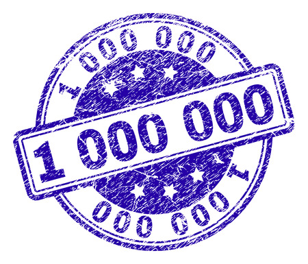 1 000 000 stamp seal watermark with grunge texture. Designed with rounded rectangles and circles. Blue vector rubber print of 1 000 000 label with grunge texture.