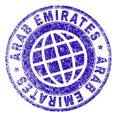 ARAB EMIRATES stamp imprint with grunge texture. Blue vector rubber seal print of ARAB EMIRATES title with dust texture. Seal has words arranged by circle and globe symbol.