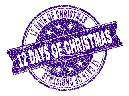 12 DAYS OF CHRISTMAS stamp seal watermark with grunge texture. Designed with ribbon and circles. Violet vector rubber print of 12 DAYS OF CHRISTMAS title with dirty texture.