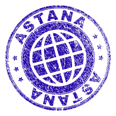 ASTANA stamp print with distress texture. Blue vector rubber seal print of ASTANA tag with retro texture. Seal has words arranged by circle and planet symbol.