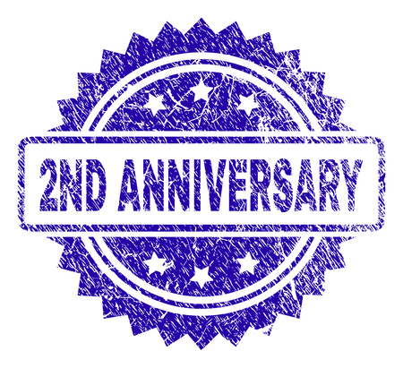 2ND ANNIVERSARY stamp watermark with grunge style. Blue vector rubber seal print of 2ND ANNIVERSARY caption with grunge texture. Иллюстрация