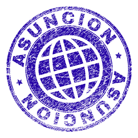 ASUNCION stamp watermark with grunge texture. Blue vector rubber seal imprint of ASUNCION text with grunge texture. Seal has words arranged by circle and globe symbol.