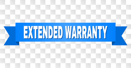 EXTENDED WARRANTY text on a ribbon. Designed with white caption and blue tape. Vector banner with EXTENDED WARRANTY tag on a transparent background.