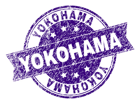 YOKOHAMA stamp seal watermark with grunge style. Designed with ribbon and circles. Violet vector rubber print of YOKOHAMA label with grunge texture.