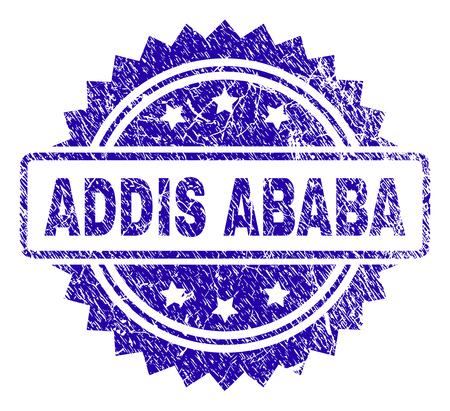 ADDIS ABABA stamp watermark with grunge style. Blue vector rubber seal print of ADDIS ABABA caption with grunge texture. Illustration
