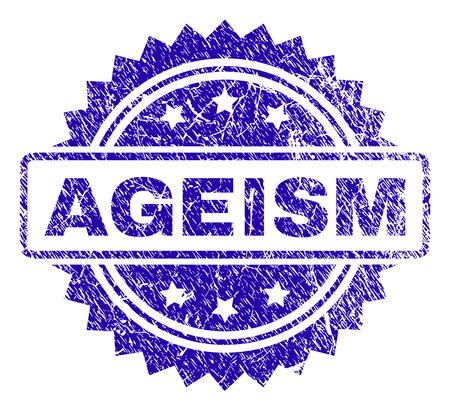 AGEISM stamp imprint with corroded style. Blue vector rubber seal print of AGEISM label with corroded texture.