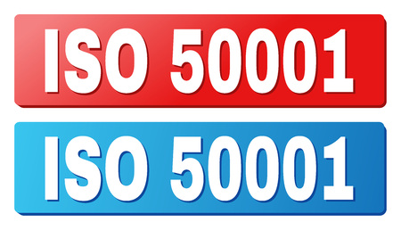 ISO 50001 text on rounded rectangle buttons. Designed with white title with shadow and blue and red button colors. Illustration