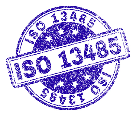 Impresión de sello de sello ISO 13485 con textura de socorro. Diseñado con rectángulos y círculos redondeados. Impresión de goma de vector azul de texto ISO 13485 con textura sucia. Ilustración de vector