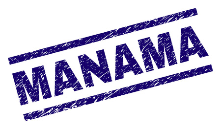 MANAMA stamp seal watermark with distress style. Blue vector rubber print of MANAMA title with retro texture. Text title is placed between parallel lines.