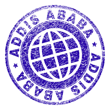 ADDIS ABABA stamp print with distress texture. Blue vector rubber seal print of ADDIS ABABA label with scratched texture. Seal has words placed by circle and globe symbol.