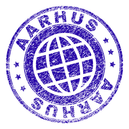 AARHUS stamp print with distress texture. Blue vector rubber seal print of AARHUS label with grunge texture. Seal has words placed by circle and globe symbol.