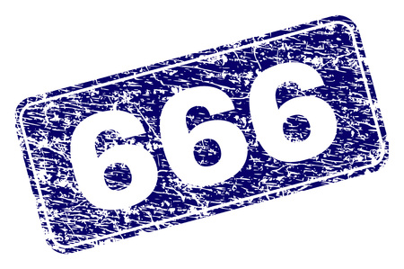 666 stamp seal watermark with grunge style. Seal shape is a rounded rectangle with frame. Blue vector rubber print of 666 caption with grunge style.