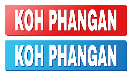KOH PHANGAN text on rounded rectangle buttons. Designed with white caption with shadow and blue and red button colors.