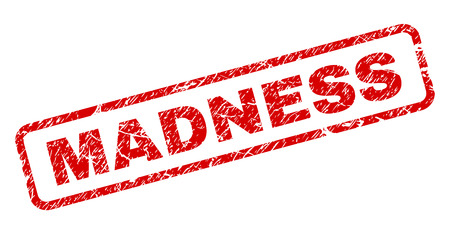 MADNESS stamp seal print with grunge style. Red vector rubber print of MADNESS text with unclean texture. Text caption is placed inside rounded rectangle frame.
