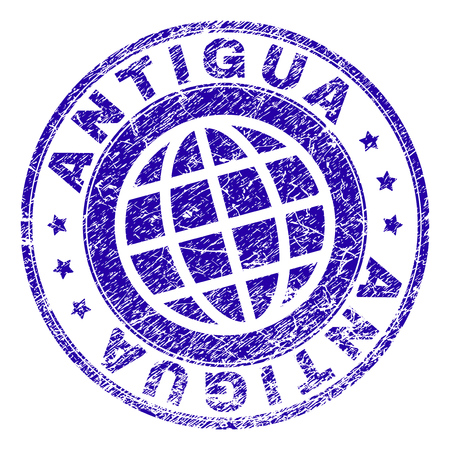ANTIGUA stamp print with distress texture. Blue vector rubber seal print of ANTIGUA text with corroded texture. Seal has words arranged by circle and planet symbol.