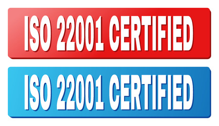 ISO 22001 CERTIFIED text on rounded rectangle buttons. Designed with white title with shadow and blue and red button colors. Illustration
