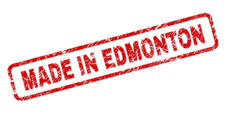 MADE IN EDMONTON stamp seal imprint with grunge style. Red vector rubber print of MADE IN EDMONTON text with unclean texture. Text caption is placed inside rounded rectangle frame.