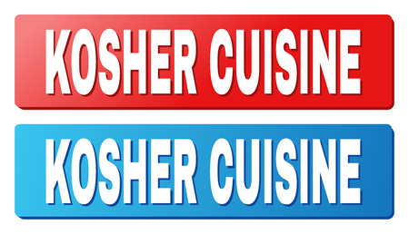 KOSHER CUISINE text on rounded rectangle buttons. Designed with white title with shadow and blue and red button colors.