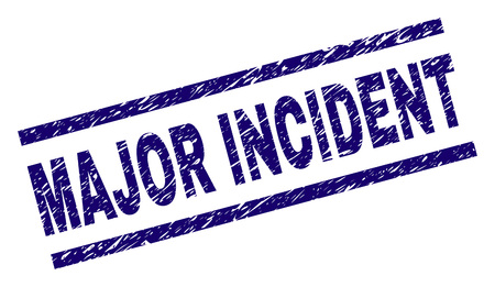 MAJOR INCIDENT stamp seal watermark with scratced style. Blue vector rubber print of MAJOR INCIDENT text with unclean texture. Text caption is placed between parallel lines.
