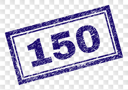 150 stamp seal print with scratched style and double framed rectangle shape. Stamp is placed on a transparent background. Blue vector rubber print of 150 caption with dirty texture.